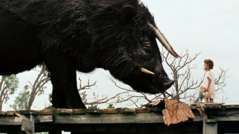 Hushpuppy meets an auroch in Beasts of the Southern Wild