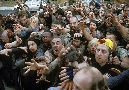 Zombie hordes in Shaun of the Dead